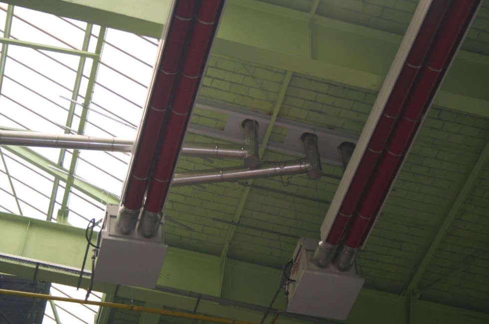 nastri radianti girad Fraccaro installati nel capannone Thyssenkrupp in Germania